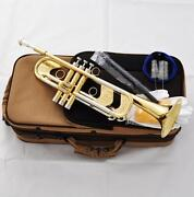New Professional Heavy Trumpet Monel Valves Germany Brass Horn Gold Lacquer