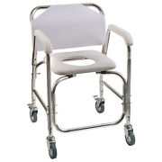 White Shower Transport Chair Wheels Commode Padded Vinyl Toilet Seat Water Proof