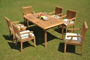 Sack Grade-a Teak Wood 7pc Dining 83 Rectangle Table 6 Arm Chair Set Outdoor