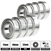 8x Ss6203-zz Ball Bearing 17mm X 40mm X 12mm Metal Sealed Stainless Steel New