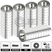 50x 6203-zz Ball Bearing 17mm X 40mm X 12mm Double Shielded Rubber Seal New