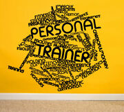 Wall Decal Room Sticker Personal Trainer Words Fitness Gym Workout Health Bo2966