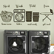 Wall Decal Laundry Room Set Signs Home Wash Ironing Iron Lettering M1602