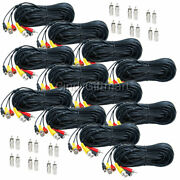 12x 50 Ft Security Camera Audio Video Power Cable For Cctv Bnc Dvr Wire Cord C4g