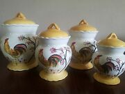Seventh Avenue Set Of 4 Rooster Canisters Brand New Still In Original Packaging