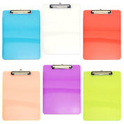 6pc Clear Clipboards Office Desk Supplies Plastic Colorful Transperant Clipboard