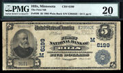 5 1902 The First National Bank Of Hills Minnesota Ch 6199 Rare Only 4 Lg No Sm