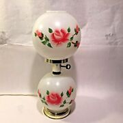Vtg Double Globe Gwtw Electric Hurricane Table Handpainted Red/pink Roses 18 T