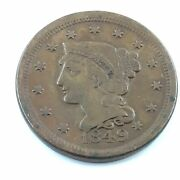 1849 Large Cent Braded Hair
