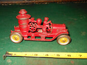 Rare Vintage Kenton Toys Red And Gold Cast Iron Fire Pump Firetruck Toy W/ Bell