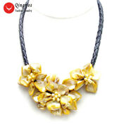 Orang Baroque Shell Flower Pendant Necklace For Women Pearl Chokers 18'' Rope