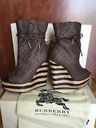 Prorsumwoven Leather And Raffia Wedge Ankle Boots Eu 37, Uk 4 Brown
