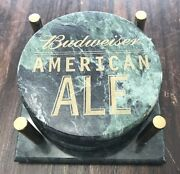 Set Of 4 Budweiser American Ale Marble Beer Coasters And Caddy