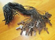 Wholesale Lot Of 30 Small Wood Crucifixes On Black Cord Necklaces, 2nd Style