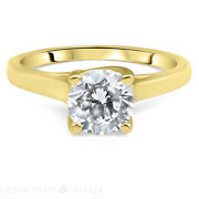 1.02 Ct Solitaire Engagement Diamond Ring Round Si1/e Yellow Gold 14k Enhanced