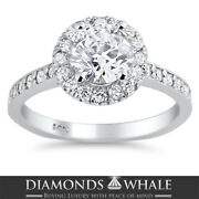 Vs2/d 1.52 Tc White Gold Enhanced Round Bridal Diamond Ring Solitaire Accents