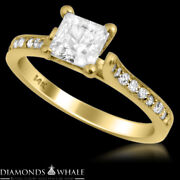 Si2/f 1.2 Tc Yellow Gold Enhanced Princess Diamond Ring Solitaire With Accent