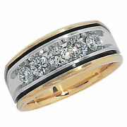 Menand039s 1 Ct Simulated Diamond Wedding Band In Real 14k Two Tone Gold