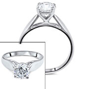 Enhanced Diamond Engagement Ring 1 Ct Round Certified D/si 18k White Gold