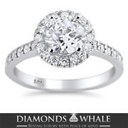 Solitaire With Accent 1.51 Tcw Diamond Enhanced Ring White Gold Vs2/d Round