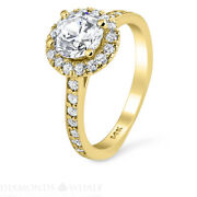 Solitaire With Accent 1.5 Tcw Diamond Enhanced Ring Yellow Gold Si2/e Round