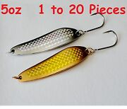 Gold And Silver 5oz Casting Crocodile Spoons Fishing Lure 7/0 Siwash Hooks 1to 20