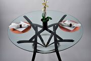 Custom One Of A Kind Wine Barrel Stave 54 Round Glass Dining Table