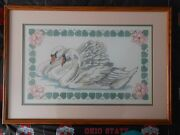 Vintage 1984 Swans Cross Stitch Matted Framed Behind Glass 24 X 17 Picture
