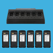 6 Way Multi Unit Charger + 6 Pack High Capcaity Battery For Mototrbo Xpr6350
