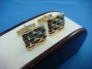 14k Solid Yellow Gold And 18k Gold Watch Band Link Style Top, Men's Cufflinks