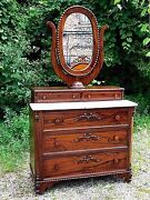 Rosewood Antique Victorian Ornate Dresser And Oval Mirror With Marble Top