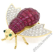 Quality 18k Gold 7.28ctw Invisible Set Ruby And Diamond Emerald Bee Fly Brooch Pin