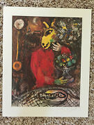 Marc Chagall Signed Offset Lithograph Der Rote Rock. Coa 1975