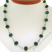 Antique 14k Yellow Gold 18 Graduated Alternating Opal And Malachite Bead Necklace