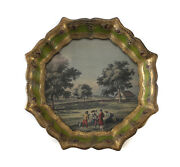 Continental Hand Painted Gilt Wood Frame Tray W/ Hand Colored Engraving C1900