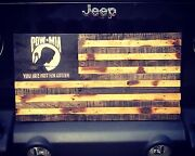 Pow / Mia Wooden American Flag Burned Hand Carved Reclaimed Wood