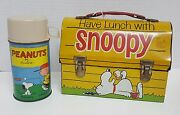 Vintage 1968 Go To School Have Lunch With Snoopy Peanuts Lunch Box With Thermos