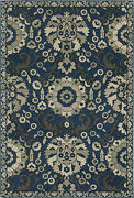 Highlands By Oriental Weavers. Transitional Medallion Area Rug. Blue/tan 6682a
