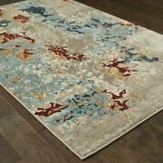 Evolution By Oriental Weavers. Contemporary Abstract Area Rug. Blue/beige 8043k