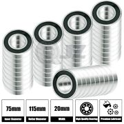 50x 6015-2rs Ball Bearing 75mm X 115mm X 20mm Rubber Seal Premium Rs 2rs New