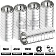 50x Ss6203-zz Ball Bearing 17mm X 40mm X 12mm Metal Sealed Stainless Steel New