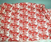 Vintage Red White Oriental Asian Toile Fabric 2.5 Yards