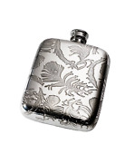 4oz Peacock Feathers Pewter Pocket Flask