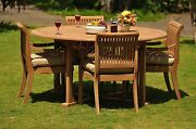Giva Grade-a Teak 5 Pc Dining 72 Round Table 4 Arm Chair Set Outdoor Patio