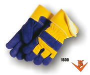 12 Pair - Majestic 1600 Blue/yellow Leather Palm Work Gloves W/pile Lining