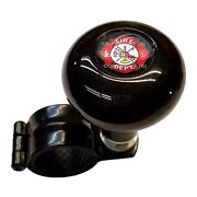 Black Steering Wheel Suicide Spinner Power Handle Knob Car And Truck - Fire Dept