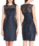 London Times Navy Shimmer Shutter And Lace Sleeveless Stretch Sheath Dress - 169