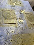 Mid Century Retro Set - Tablecloth Glasses In Carrier Plates Placemats