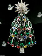 Signed Pave' Crystal 2005 Christmas Tree Pin Pinbrooch Retired Nwc