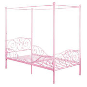 Girl Pink Canopy Twin Bed Room Slat Support Heart Scroll Design Metal Frame New